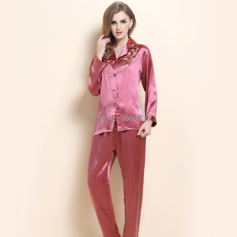 dd113f052e Buy 100% Mulberry Silk Brand Sleepwear Autumn Twinset Embroidered Plus Size  Long-sleeve Women Pajama Sets M L XL XXL Free Shipping in Cheap Price on ...