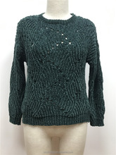 Military Style High Quality Chenille Women Pullover Knit Sweater