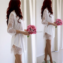 Weddings Clothing Lingerie Luxurious High Quality 100% Silk Satin Lace Robe White Bridal Robes With Lace Sleeves