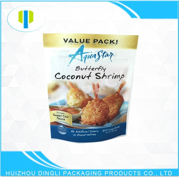 SGS food grade stand up matte finished zipper plastic bag for fried chicken