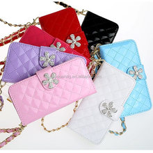 High quality Chain leather case with card slot for iphone 5, Wallet diamond case for iphone 5S
