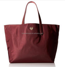 both sides use red nylon shopping tote bag for women