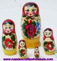 Matrioshka Wooden Handpainted Russian Nesting Doll with Ethnic Ornament, Crafts Folk Art National Russia Art and Crafts