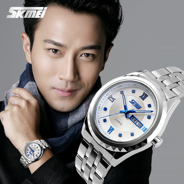 Hot selling rose gold plating diamond watches stainless steel watch men