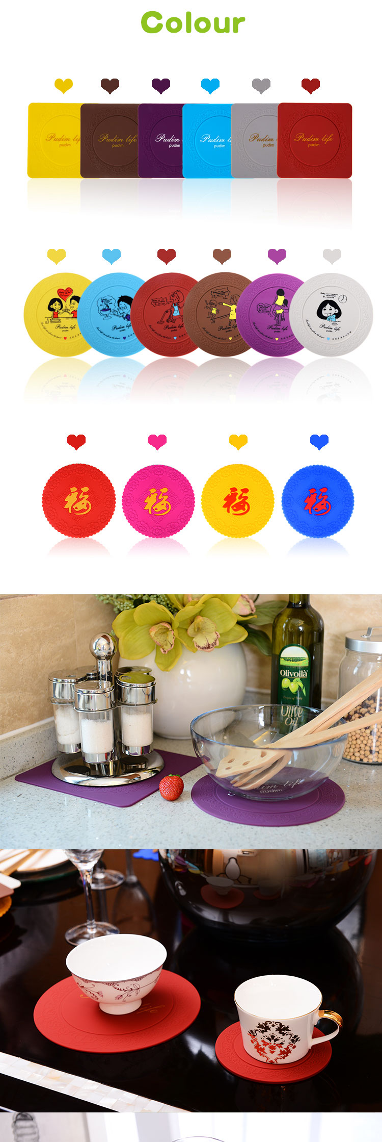 Custom Food Grade Round Silicone Baking Cup Place Mat