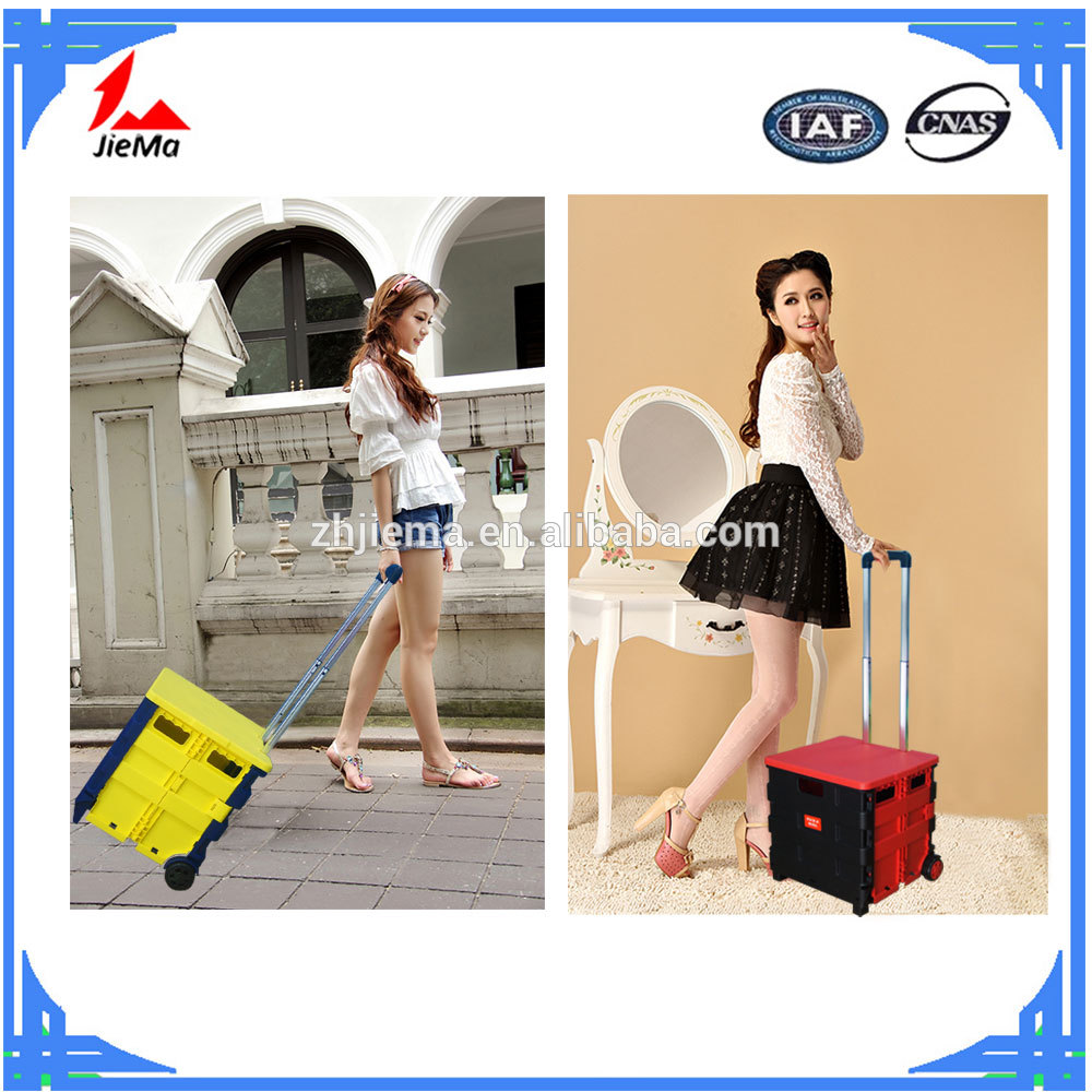 New design shopping cart foldable trolley folding shopping cart with seat