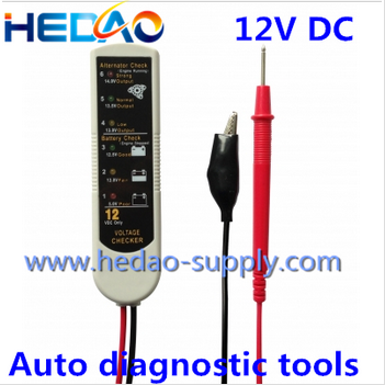 Handheld diagnostic car tester for voltage of battery and alternator checker
