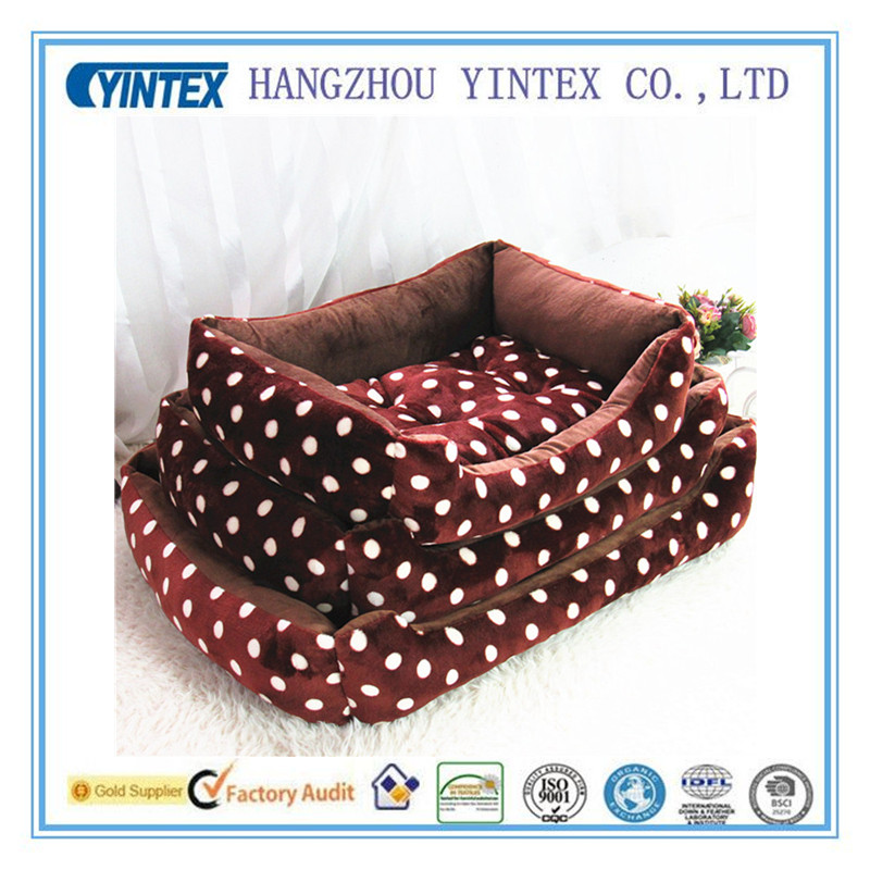 Wholesale Round Design Red Luxury Super Soft Pet Bed For Dogs