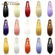 AISI HAIR cheap synthetic fiber long straight wig cosplay sexi synthetic cosplay wigs with bangs
