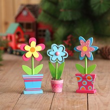 wooden flower decoration table ornament spring decorative
