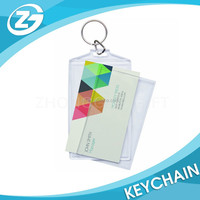 China Factory Personalized LOGO Promotional Custom Rectangle Photo Snap-in Business Card Size Acrylic Key Chain