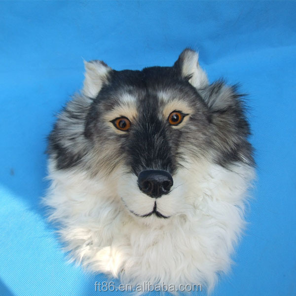 wall hanging animal lifelike plush mask dog head