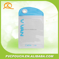 Hot sale flexible packing plastic transparent PVC phone data line plastic bag