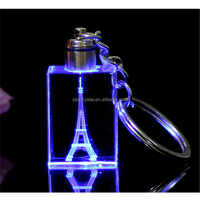 in fashion K9 custom 3D Eiffel engraved crystal key chain