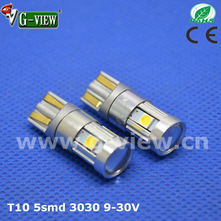 9 year experiences auto light manufacturer, T10 12v 24v led auto light,5smd 3030 chipsets 168 2825 t10 wedge led bulbs