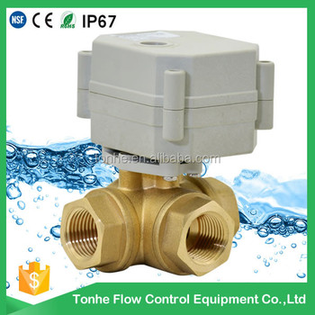 "1/2"" DN15 brass electric ball control motorized valve motorized valve 3 way 1/2"