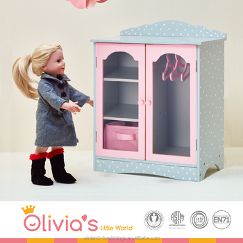 Olivia's Little World -Fancy Wooden Closet with 3 Hangers and 1 Cubby (Grey Polka Dots) |18 inch Doll Furniture