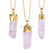 Summer Fashion hot sell druzy natural stone purple crystal point necklace choker jewlery