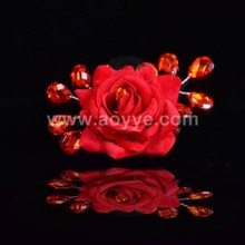 Wholesale traditional wedding red flower headwear charming lace hair accessories