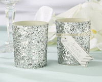 """Sparkle and Shine"" Silver Glitter Votive Candle holder Popular glass candle cup"