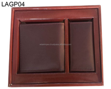 Brown leather wallets and Purse two pieces gift packs available customization