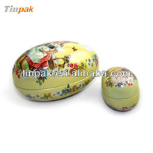 egg shaped metal tin box for christmas decoration