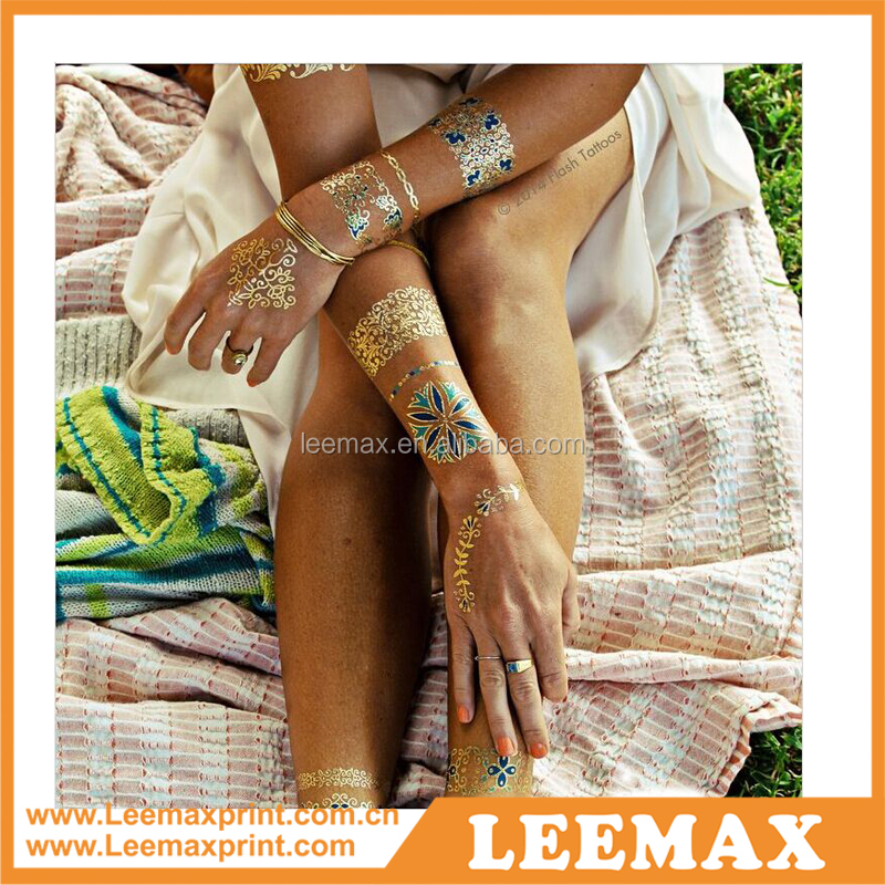 LM1002 Body jewelry tattoo designs temporary tattoo sticker sticker,metallic golden temporary tattoo