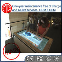 water-proofed HD floor stand Pure Flat Capacitive game / bar / coffee multi points ir touch screen table