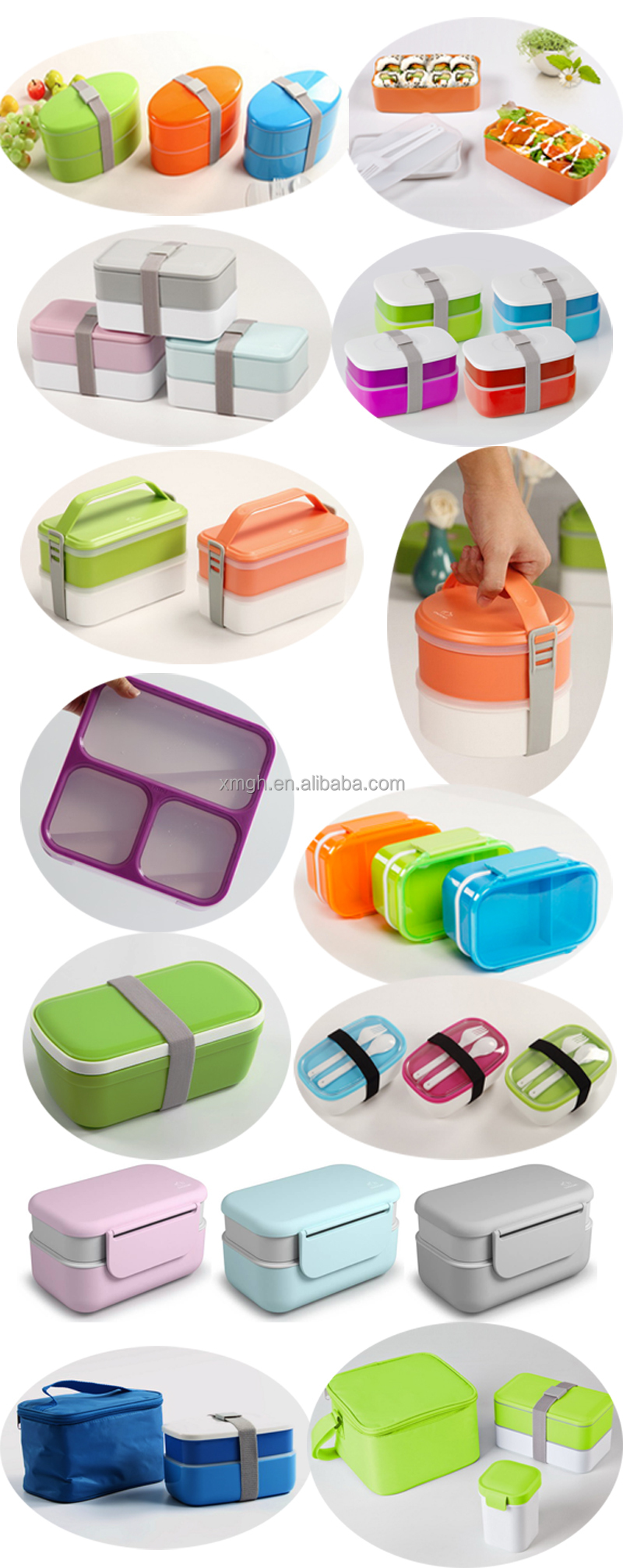 High Quality Pp Food Packaging Grade Plastic Lunch Boxes Container Three Sub Box
