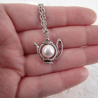 Alice in Wonderland Teapot Pearl Necklace 8mm Imitation Pearl Necklace