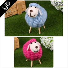 Handmade coloful cute wool felt sheep toy home tableware wooden gift craft decoration Christmas decoration