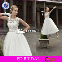 NS865 Classic Bateau Neck Tulle Skirt Lace Top Vintage Ankle Length Wedding Dresses