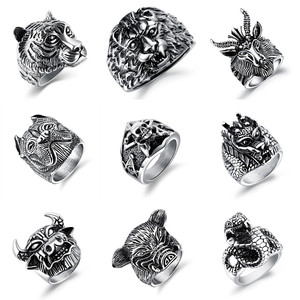 Wholesale Punk Personality Stainless Steel Fashion Skull Animals Rings For Mens