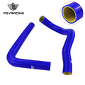 PQY RACING - Blue & yellow Silicone Radiator HOSE For TOYOTA SUPRA JZA80 2JZ GTE TURBO NON VVTI 93-98 with PQY logo LX2001T-QY