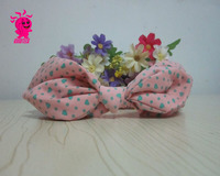2016 hot sale Chinese knot rabbit ears small mint polka dot and small heart baby headband