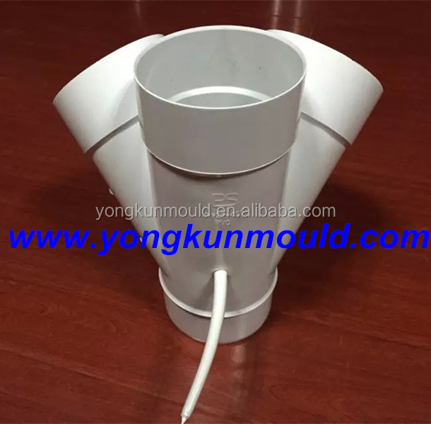 Manufacturing 45 deg 110mm four ways pvc fitting mold