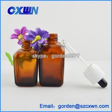 Top quality amber 30ml square glass e liquid bottle glass dropper bottle with childproof cap