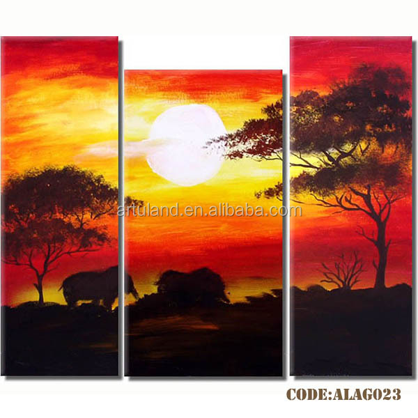 Group paintings of african landscape paintings