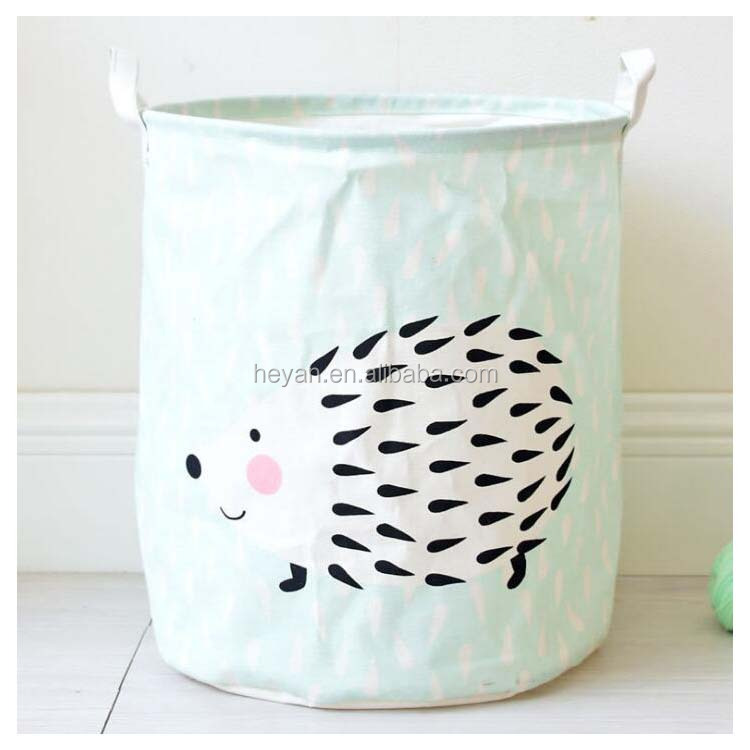 Cute Animal Hedgehog Linen Laundry Bags MOQ 20PCS