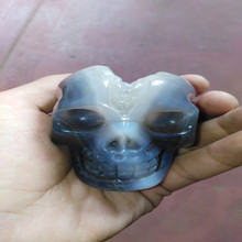 Wholesale Natural crystal crafts Stone Gray Agate Druzy Hand Carved Decorated Skull