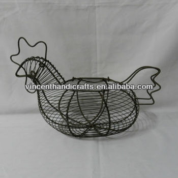 Country primitive chicken shape metal wire kitchen egg baskets