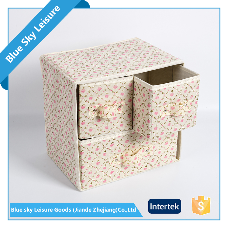 Small PP Non-woven Printed Fabric Drawer Organizer Divider Storage Box
