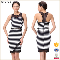 Black Stripes Body Con Evening Dress Wholesale 2015
