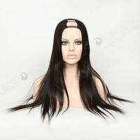 Brazilian human hair straight middle parting u part wigs