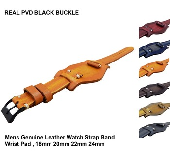 vintage handmade fashion 18,20,22,24,26mm unisex leather watch straps with real PVD black buckle