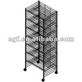 Rolling Metal Wire Shoe Display Rack with 7 Shelves