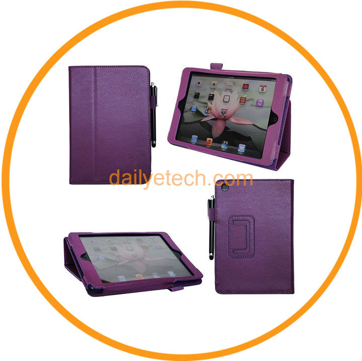 PU Leather Wallet Case Cover with Stylus Protector for Mini iPad from Dailyetech