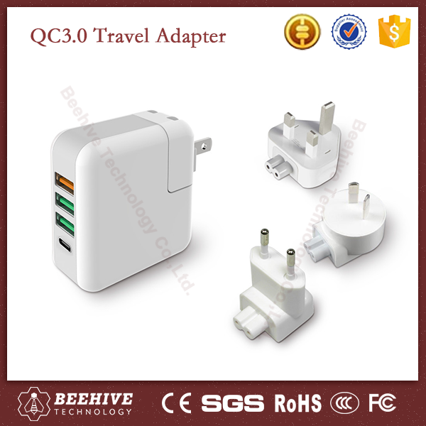 Top Quality QC 3.0 Universal Travel Adapter with Usb Port Charger