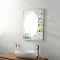 Makeup decorative wall Bathroom Mirror with shelf