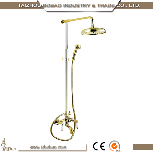 Model 9016 Old Fashion Wall Mounted Vintage Golden Shower Sets Gold Bathroom Shower Faucet Brass Rain Shower Set
